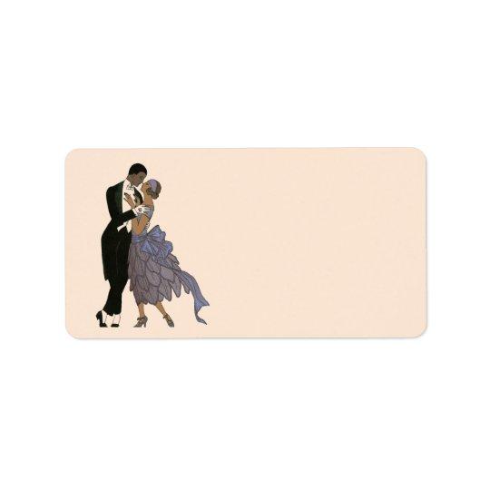 Newlyweds do art deco do vintage, dança dos noivos etiqueta de endereço