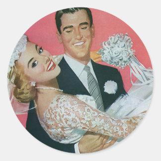 Newlyweds do casamento vintage, noiva do adesivo