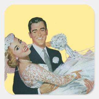Newlyweds do casamento vintage, noivos felizes adesivo quadrado