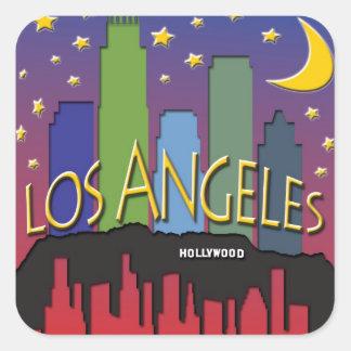 Nighlife da skyline de Los Angeles Adesivo Quadrado