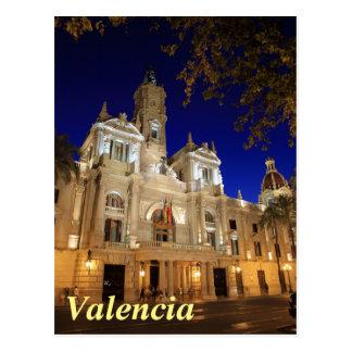Nightview da plaza Ayuntamiento, Valência, espanha Cartão Postal