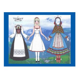 Nina do cartão de papel da boneca de Noruega