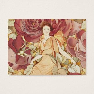 Ninfa feericamente bonito nos rosas cartão de visitas