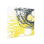 Ninho abstrato em branco, em cinzas e em amarelo impressão de canvas esticada