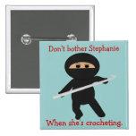 Ninja com o botão do gancho de Crochet Bóton Quadrado 5.08cm