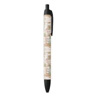 Nishiki asiático do tsuzure da colagem da caneta preta
