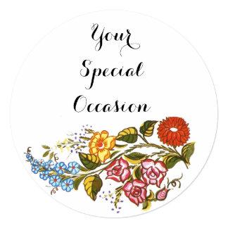 No2 floral húngaro convite quadrado 13.35 x 13.35cm
