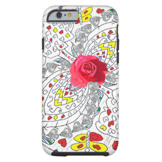 No. 8 mandala com rosas e diamantes capa tough para iPhone 6