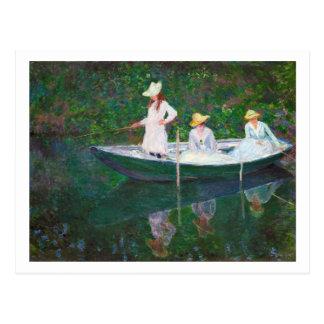No barco norueguês em Giverny Claude Monet Cartão Postal