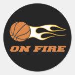 No basquetebol do fogo adesivos redondos