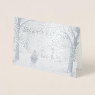 Cartão Metalizado No cartão de cumprimentos da estação das madeiras