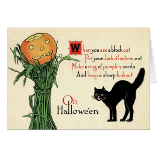 No cartão do vintage do Dia das Bruxas