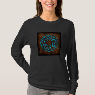 Nó celta azul místico no couro camiseta