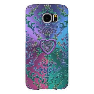 Nó celta do coração no damasco metálico colorido capa para samsung galaxy s6