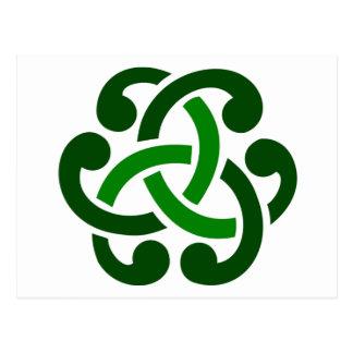 Nó celta verde escuro cartoes postais