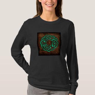 Nó celta verde místico no couro camiseta