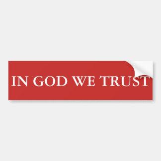 No deus nós confiamos adesivo para carro
