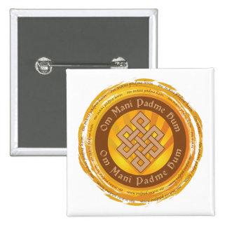 Nó infinito da mantra tibetana bóton quadrado 5.08cm