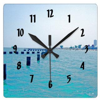 No lago em matiz Azul-Esverdeados Relógios Para Paredes