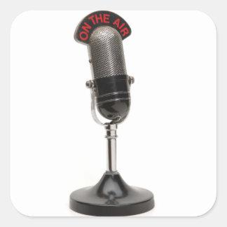No microfone do vintage do AR Adesivo Em Forma Quadrada