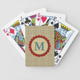 No monograma da xadrez do creme da cozinha baralhos de pôquer