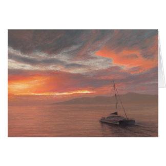 No por do sol de Maui - cartão de nota