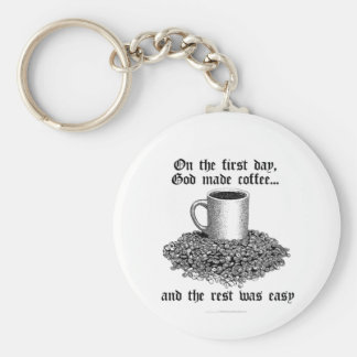 No primeiro dia, o deus fez o café… chaveiro