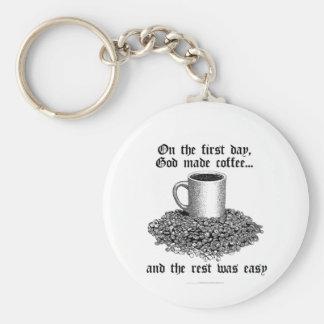 No primeiro dia, o deus fez o café… chaveiros