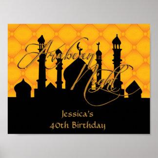 Noite árabe, poster da festa de aniversário do