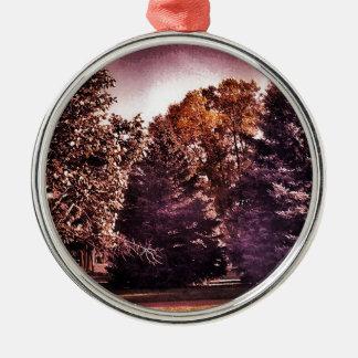 Noite bonita ornamento redondo cor prata