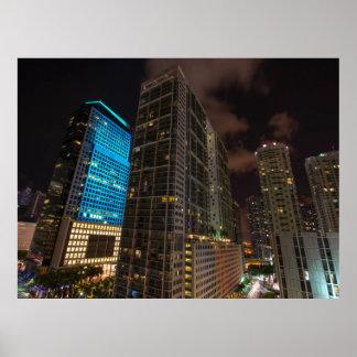 Noite da avenida Miami Florida de Brickell na Pôster