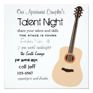 Noite da guitarra convite quadrado 13.35 x 13.35cm