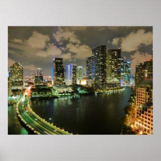 Noite da skyline de Miami Posters