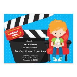 Noite de cinema * escolha a cor do fundo convite 12.7 x 17.78cm