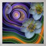 Noite do Helleboris, floral abstrato artístico Impressão