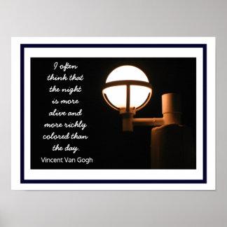 Noite e dia ---Impressão da arte - citações de Van Pôster
