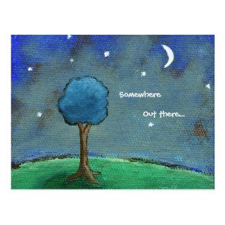 Noite estrelado, a árvore abstrata da paisagem cartão postal