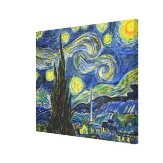Noite estrelado de Van Gogh. Acrílico na lona