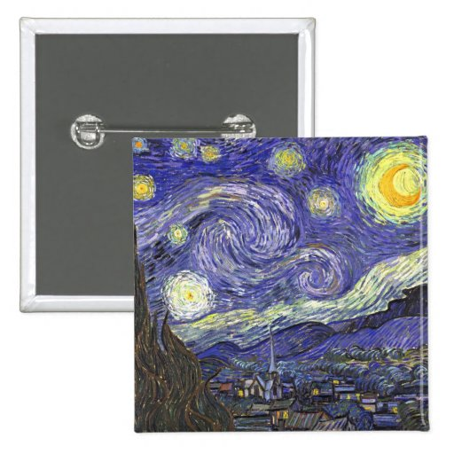Noite estrelado de Van Gogh, apos impressionismo Botons