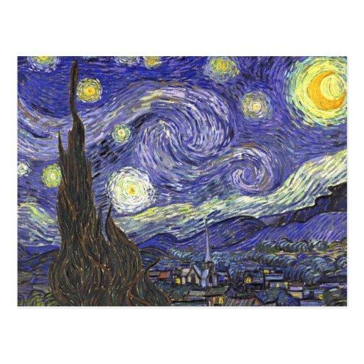 Noite estrelado de Van Gogh, apos impressionismo d Cartoes Postais