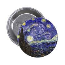 Noite estrelado de Van Gogh Bóton Redondo 5.08cm