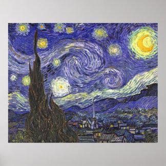 Noite estrelado de Van Gogh, paisagem das belas Pôster