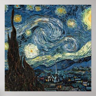 Noite estrelado de Van Gogh Pôsteres