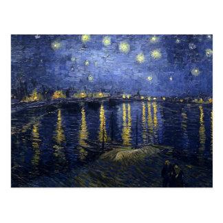 Noite estrelado de Van Gogh sobre o Rhone Cartão Postal