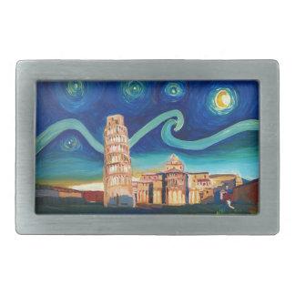 Noite estrelado em Pisa com torre inclinada