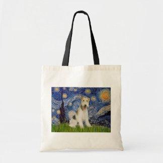 Noite estrelado - Fox Terrier do fio (M) Bolsa Tote