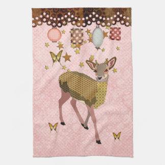 Noite estrelado MoJo Kitch dos cervos cor-de-rosa  Pano De Prato
