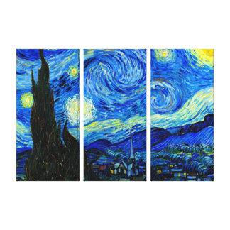 Noite estrelado pelo impressão triplo das canvas impressão em canvas