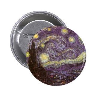 Noite estrelado por Vincent van Gogh, belas artes Bóton Redondo 5.08cm