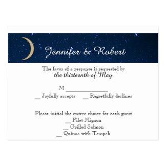 Noite estrelado que Wedding o cartão de RSVP